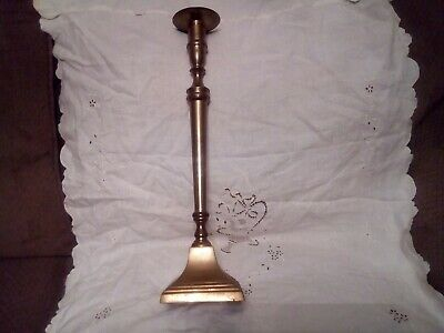 "Antique Bombay Tall Brass Candlestick Made In India 16.5"" Tall Patina."