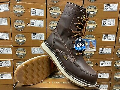 """Men's 8"""" Soft Moc Toe Safety Oil Slip Resistant Waterproof Leather Work Boots"""