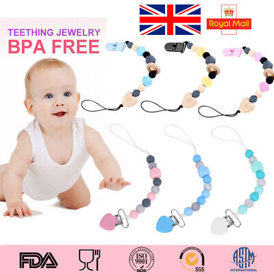 Dummy Clip Baby Pacifier Clips Silicone Beads Soother Chains Cute Baby Teething