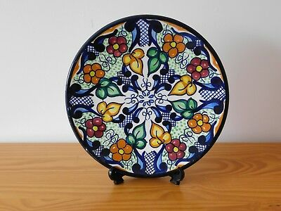 Antique Spain Spanish Multi colour  Hand Painted Faience Majolica Plate