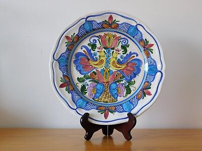 Antique Spain Spanish Multi colour Hand Painted Faience Majolica Charger