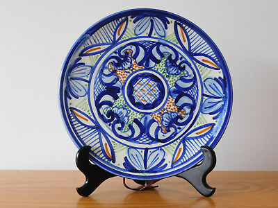 Antique Spain Spanish Blue and White Hand Painted Faience Majolica Plate