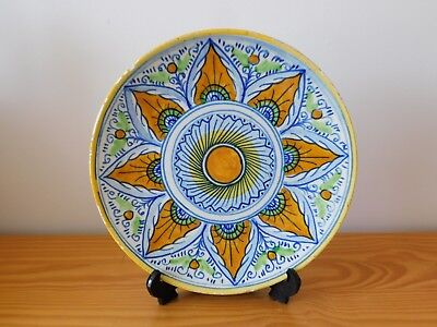 c.19th - Antique Spain Spanish Hand Painted Faience Majolica Plate