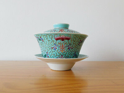 c.19th - Chinese Famille Rose Guangxu Turquoise Porcelain Lidded Tea Cup Gaiwan