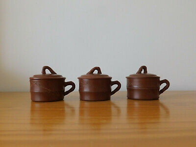 c.19th - Antique Chinese Yixing Terracotta 3x Lidded Tea Cups
