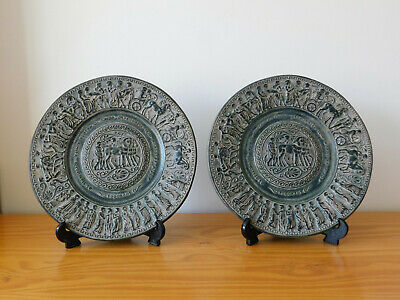 c.20th - Vintage Greek Pottery Wall Plate Plaque Pair - in Ancient Style