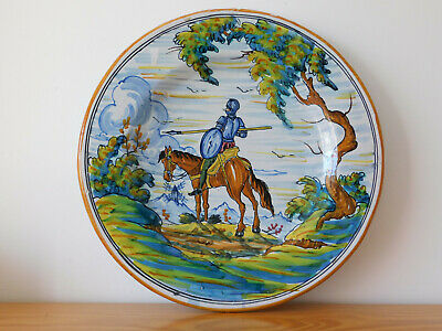 LARGE - Antique Spain Spanish Multi colour Hand Painted Faience Majolica Charger