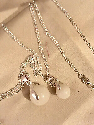 """💜BREAST MILK Ball Charmx2*💜+24""""&16""""ster silver Chain/*see Del Time)"""
