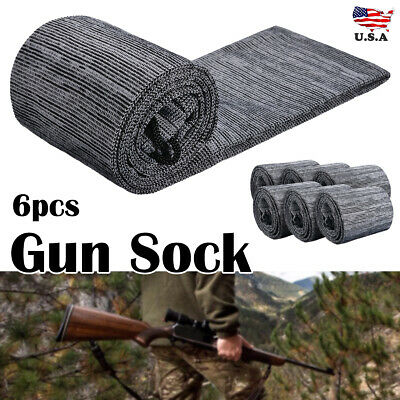 """6 Pcs Silicone Gun Treated Sock Protection Hunting Storge Sleeve Up To 52"""" Gray"""