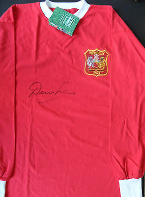 DENIS LAW Signed Shirt MANCHESTER UNITED Legend COA