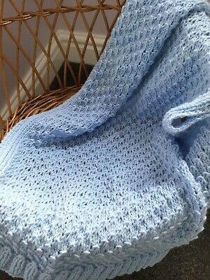 Hand Knitted Baby Blanket ~ Pram Blanket ~ Supersoft Baby Yarn ~ Pastel Colours