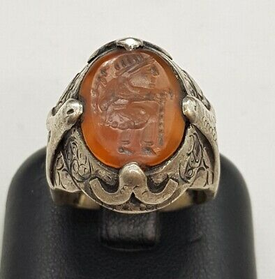 Antique Silver Old Wonderful Ring With Agate Stone Roman King Figure Intaglio