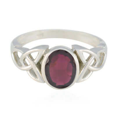 Genuine Gem Oval Faceted Garnet ring 925 Silver item gift for b'day statement UK