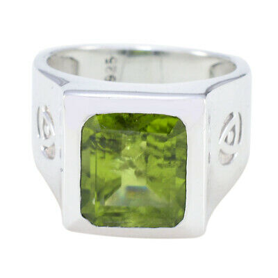 Elegant Pridot Gemstone Solid Silver Ring Indian Gift on Grand Parent's Day UK
