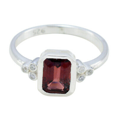 Garnet Jewelry Father's Day Jewelry 925 Sterling Silver Ring Octagon Ring Top UK