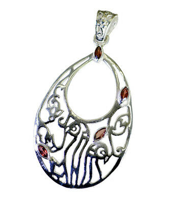 jewellery 925 Sterling Silver grand Natural Red Pendant UK gift