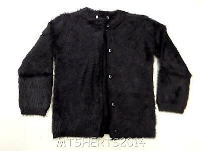 Girls Ex M&S Fluffy Cardigan with Heart Buttons Black Age 6-7 years LA5