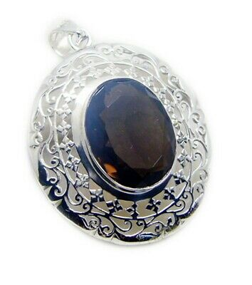 Brown 925 Sterling Silver genuine exquisite Smoky Quartz jewellery Pendant AU