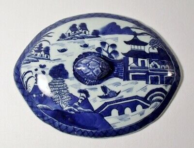 """Antique 19th Century Chinese CANTON 9"""" x 6-7/8"""" Oval Lid EXCELLENT"""