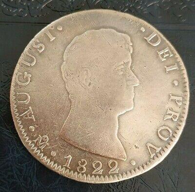 Mexico 1822 8 Reales Mo ITURBIDE Silver Mexican Coin Very Rare