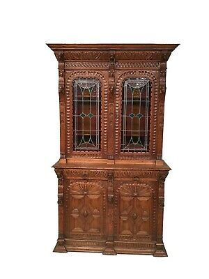 Handsome Antique French Oak Cabinet, Leaded Glass Doors, 1920's