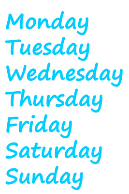 Days Of The Week Stickers - Ideal for School Day Drawers