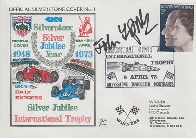 John Fitzpatrick Hand Signed Silverstone Silver Jubilee Year First Day Cover.