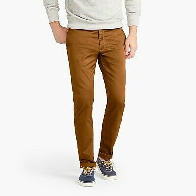 J Crew Mens Brown 484 Slim-fit pant in stretch chino Size 30x32