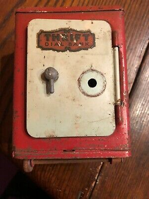 Vintage Metal Tin Combination Thrift Dial Still Coin Bank Two Wheels