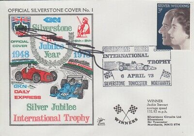 Jeff Gordon Hand Signed Silverstone Silver Jubilee Year First Day Cover.