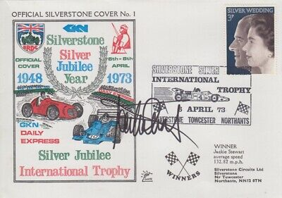 Jackie Stewart Hand Signed Silverstone Silver Jubilee Year First Day Cover.