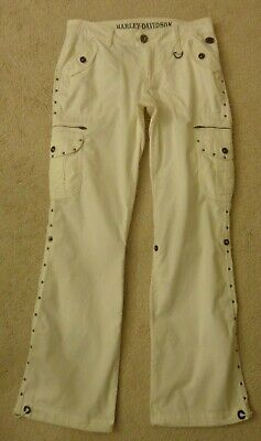 Harley Davidson💗Awesome White Cargo Style Zippers/Studs/Snap Pockets Pants Sz 4
