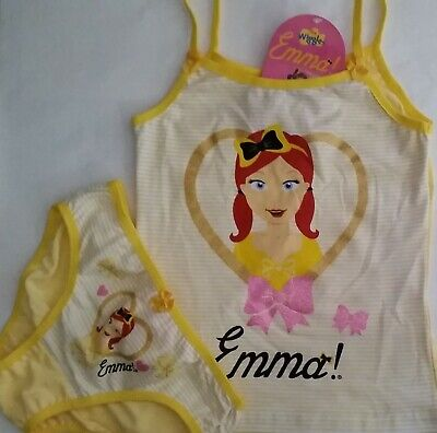 THE WIGGLES EMMA WIGGLE Licensed Girl singlet cami & briefs set yellow NEW 1-6