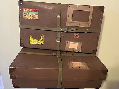 Vintage STEAMER Trunk Luggage Suitcase VULCANIZED IndIan Army Mail