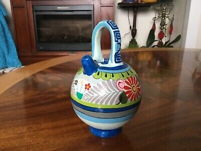 Vintage Mexican Pottery small water jug/pitcher, hand painted, signed F. Regin ?