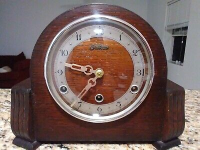 VINTAGE BRITISH BENTIMA ART DECO 8 DAY STRIKING Oak MANTLE CLOCK