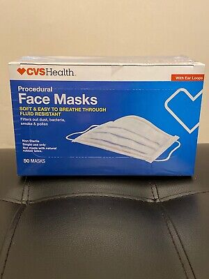 CVS Health 50 Count Face Masks Protection Bacteria, Dust, Virus Fluid Resistant