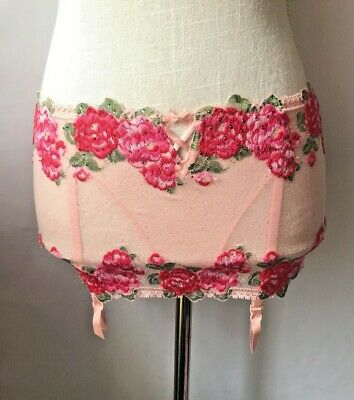 Victorias Secret Pink Floral Garter Belt Rhinestone Attached Panties Size S NWT