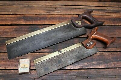 Pair Vintage Brass Backed Tenon Saw John Cockerill Timber Wooden Handle