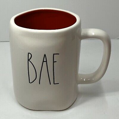 "Rae Dunn Valentine's Day LL ""BAE"" Mug - Red Interior/Black Font NEW"