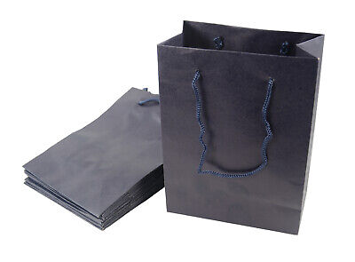 Large Plain Blue Recyclable Paper Jewellery Gift Bags with Drawstring Handles