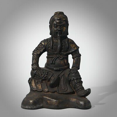 """8.27""""H Old Chinese Antiques Bronze Buddha Statue Majestic General Sculpture Ware"""