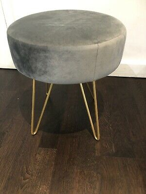 Grey Velvet Dressing Table Stool Home Decor 38 cm Foot Stool  New
