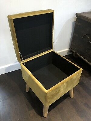 Yellow / Gold Mid Century Vintage Style Velvet Footstool With Storage Home Decor