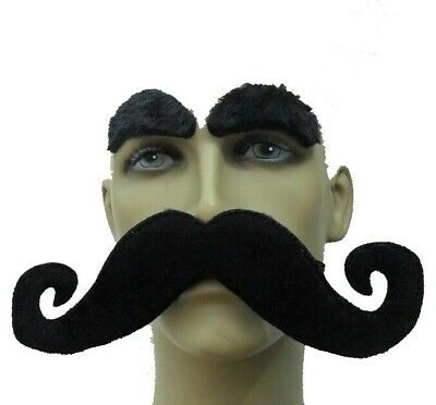 Long Black Curly Fancy Dress Moustache With Elastic & Self Adhesive Eyebrow Set