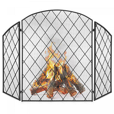 3 Panel Fireplace Screen Wrought Iron Mesh Spark Guard Gate Protector 50x30 Inch