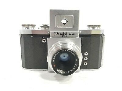 RARE USSR OCCUPIED GERMANY PRAKTICA FX CAMERA W/50mm 2.9 E.LUDWIG MERITAR Lens