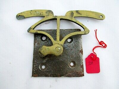 3A. Original Antique Brass & Iron Servant or Door Bell Cable Wire Crank or Hinge