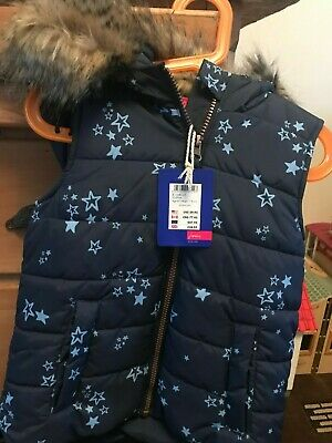 girls joules bodywarmer gilet age 6 blue with stars hood new with tags