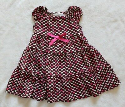 Specialty Baby Girls Dress Size 12 Months Brown Pink White Hearts Valentines Day